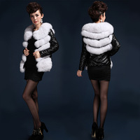 2013 WINTER* 100% REAL SHEEP SKIN DOWN COAT WITH fFOX/ FOX FUR COAT*EMS FREE SHIPPING TSU13002