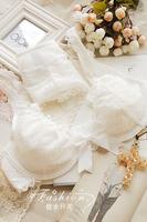 WELL Designer Brand Fashion Solid Color Ultra-thin Women's Full Lace Big Bow Underwear Bra Set Sexy White Black  B C Cup Bra Set