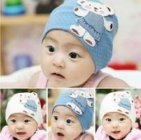 Wholesale baby little cartoon bear set of head cap newborn ear hat spring and autumn