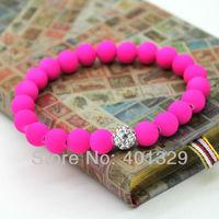 Charm Girls' Jewelry 8mm Pink Beads Stretch Bracelet Wholesale 3pcs/lot Free Shipping!
