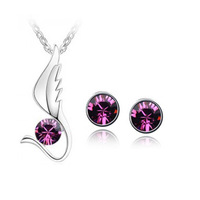 HOT  !!!!  2013  NEW  COMING , PLUMAGE  PENDANT  NECKLACE  ,  EAR  STUDS  CRYSTAL  SET    -A31B38