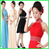 2015 new arrival bridal  dress halter-neck black and red short panty dresses gowns long halter evening dress