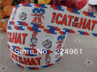 "2013 new arrival 1"" (25mm) the cat in the hat printed grosgrain ribbon hair bows ribbon hair accessories 10 yards tape"