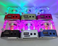 Free shipping 2013 Brand new LED Crystal Portable Audio Active Mini Speaker support TF card and U disk with FM Radio mp3 player