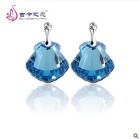 Free shipping 2013 New Arrival Austrian crystal earrings female Korean fashion color seashell earrings hypoallergenic earring