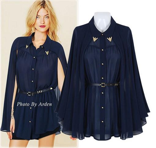 2014 Nova HOT !!! Blusa Chiffon Marinha das senhoras das Mulheres do Cabo Style Design Single- breasted / Bege S / M / L LH13052323(China (Mainland))