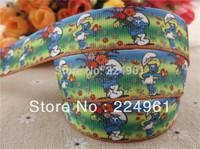 "2013 new arrival 7/8"" (22mm)  blue grosgrain ribbon cartoon ribbon hair accessories 10 yards tape"