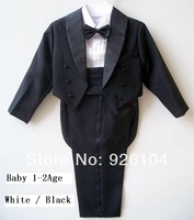 New 2014 Hot tuxedo boy Five pieces set black or White Baby formal dress suit for boy (size 1-2year)
