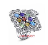 1pc EMS Free Shipping, colorful tourmaline ring 925 sterling silver rings For lady or girl