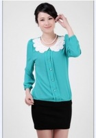 2014 Sweet Petal Round Neck Long Sleeve Chiffon Blouse Sky Blue /Green/Black /WhiteBJ13042310