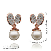 2014 Factory price!18K Rose gold Austria Crystal pearl fashion pendant earring,Wholesale jewelry E443