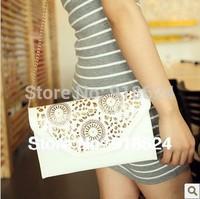 Bags 2013 women's handbag preppy style cutout hollow envelope bag one shoulder cross-body messenger bags small bag free shipping