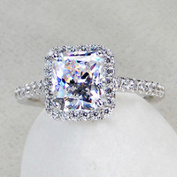 3 carat Princess Cut  fine silver sona Simulated Diamond promise Engagement rings for women,14k white gold plated Wedding Ring