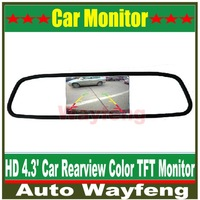 "High resolution 4.3"" Color TFT LCD Car Rearview Mirror Monitor 4.3 inch 16:9 screen DC 12V car Monitor for DVD Camera VCR"