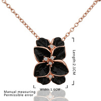 Halloween gift!18k rose gold cherming necklace jewellery,fashion black clovers flowers rhinestone pendant necklace.Jewelry N612