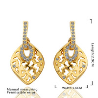 Promotion product!18k gold plated women earring,18k gold plated leaf design Austria crystal fashion pendant earring E473