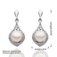 2014 New Arrival !18K gold plated fashion pendant Austria Crystal pearl Elegant women pendant earring,Wholesale jewelryE522