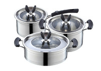 free shipping Stainless steel capsuled bottom pot 3pieces set frying pan soup pot milk pot cookware set