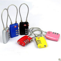 Free shipping tsa cable password lock luggage Combination Suitcase Padlock