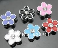 Wholesale can through 8mm Belt Pet Collar Free Shipping 50pcs Mix Color One Rhinestone Flower Internal Dia:8mm Slide Charm