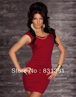 Free Shipping  Sexy Party Dress Sleeveless O-Neckline Sexy Clubwear Dress three colors
