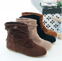 Heels Boots New Womens Suede-Leather Fringes Inside Heels Ankle Boots Comfort Shoes Ankle Boots