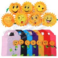 5pcs/lot free shipping candy color square pocket shopping bag nylon Eco-friendly reusable folding handle bag JX-007