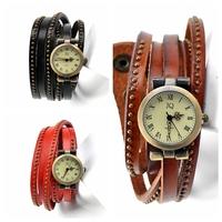 hot sell new punk genuine leather bracelet watch women longband fashion quartz watches girl clock free shipping W1366