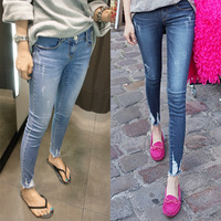 Free Shipping Fashion autumn pants moben hole jeans female skinny pants, long jeans women  JD968LK