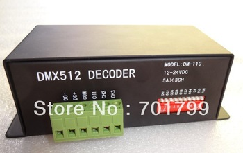 promotion!!! dmx constant voltage decoder& driver, DC5-24V input,3channel*5A output;model:DM-110