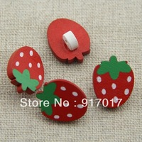 Free shipping 100pcs red strawberry buckle wooden button decoration buckle diy children's clothing baby buttons 6013
