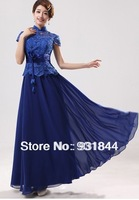 2014 wholesale Royal blue evening  dress short sleeve floor length long design lace formal party pageant ball women hot gown