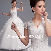 new 2014 v-neck lace wedding dress vestido de noiva plus size ball gowns robe de mariage sexy wedding dresses vestidos 53