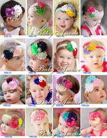 Free Shipping 10Pcs/Lot 28 colors 2013 New Arrival Baby Flower Headbands girls rhinestone headbands Christmas gift headwear