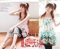 Hot-selling new 2013 summer thin hot-selling floral print spaghetti strap t-shirt tube top chiffon one-piece dress