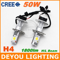 2pcs/lot CREE 3600lm 50w H4 LED car head Light bulb Xenon white 6000K High Low beam 12V 24V car Headlight kit 18months warranty