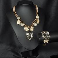 Wholesale Glass Crystal Statement Necklace Bracelet High Qualtiy Luxury Vintage Designer Jewelry Sets 2013 New Free Shipping