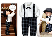 4 pcs/ lot Baby Romper Boy's Gentleman Design Bowknot Plaid Infant Long Sleeve Climb Clothes Kids Clothes Gift Free Shipping TL6