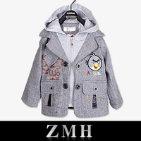 2014 New Spring Autumn warm coat hoody with hat kids winter cartoon jacket sweaters cotton gray baby clothing for children