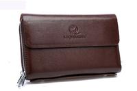 2014 New 100% cowhide Genuine leather men wallet man purse cowskin Zipper Coin Wallet clutch bag Top quality