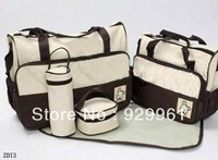 5pcs /Set Brown Color Multi Function Super Large Baby Diaper Tote Shoulder Outdoor Bag Durable Nappy Bag Mummy Mother Bag