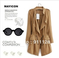 fashion drawstring waist slim trench outerwear medium-long women's trench women's Q339