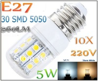 10XE14 E27 G9 5W 360degree 30SMD 5050 LED Light Bulb White Warm White light 220V 360Lm LED Corn Light spotlight bulbs With Cover