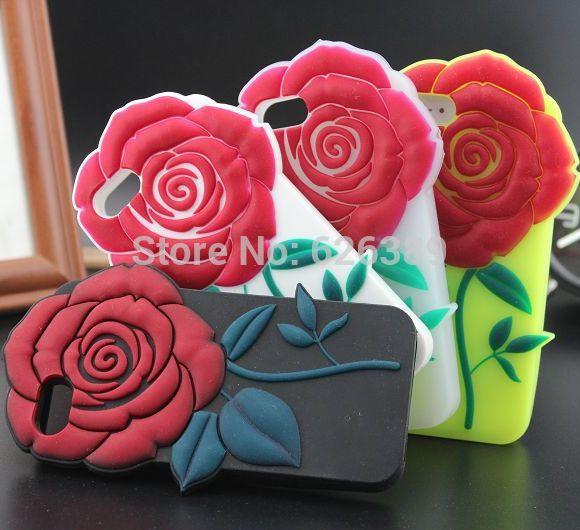 For iphone 5 5s case NEW soft rubber Flower design mobile phone protective back cases cover for iphone5s free shipping