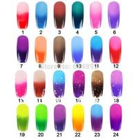 2013 Hot 12ML Temperature Color Change Nail Art Soak Off Color UV Gel Polish 24 color Choose Free shipping