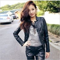 Free Shipping!  Autumn Winter Female Leather Clothing Short Design Slim PU Motorcycle Jacket .Clearance
