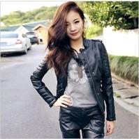 Free Shipping!  Autumn Winter Female Leather Clothing Short Design Slim PU Motorcycle Jacket .Clearance