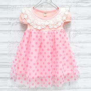 2013 New Fashion Brand Baby Girls Dots Lace Patchwork Dresses Kids Children Pink Princess Ball Gown, Free Shipping GD069