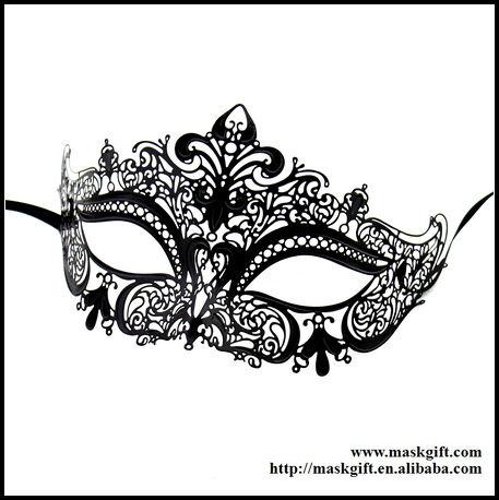 12 pezzi spedizione gratuita a caldo vendita di lusso veneziane handmade filigrana in metallo tagliato a laser nero lucido pianura mascherata maschere partito mb009-bk