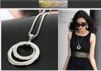 3pcs/lot 2014 hot Fashion circular sweater chain necklace.Wholesale! A0154